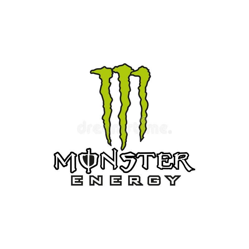 Logotipo da bebida da energia do monstro ilustração do vetor