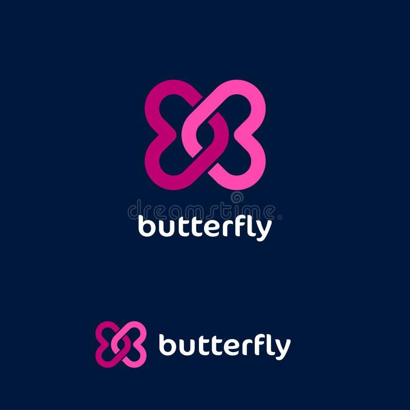 Logotipo da borboleta Emblema do amor Datando o logotipo do Web site Dois corações torcidos cor-de-rosa em um fundo escuro ilustração royalty free