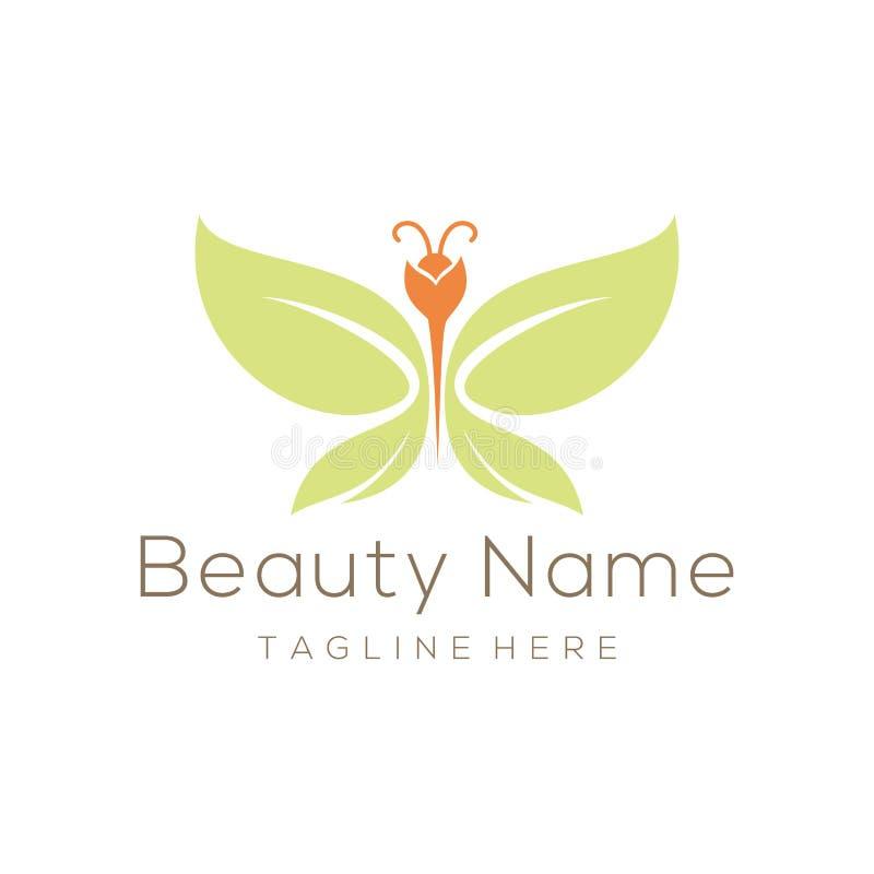 Logotipo da borboleta da folha da beleza e projeto do ícone ilustração stock