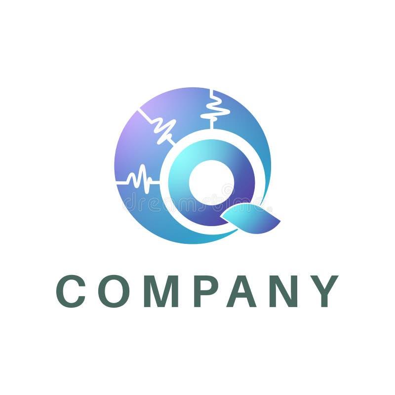 Logotipo da busca sob a forma da letra Q, a forma do sinal em torno dele ilustração stock