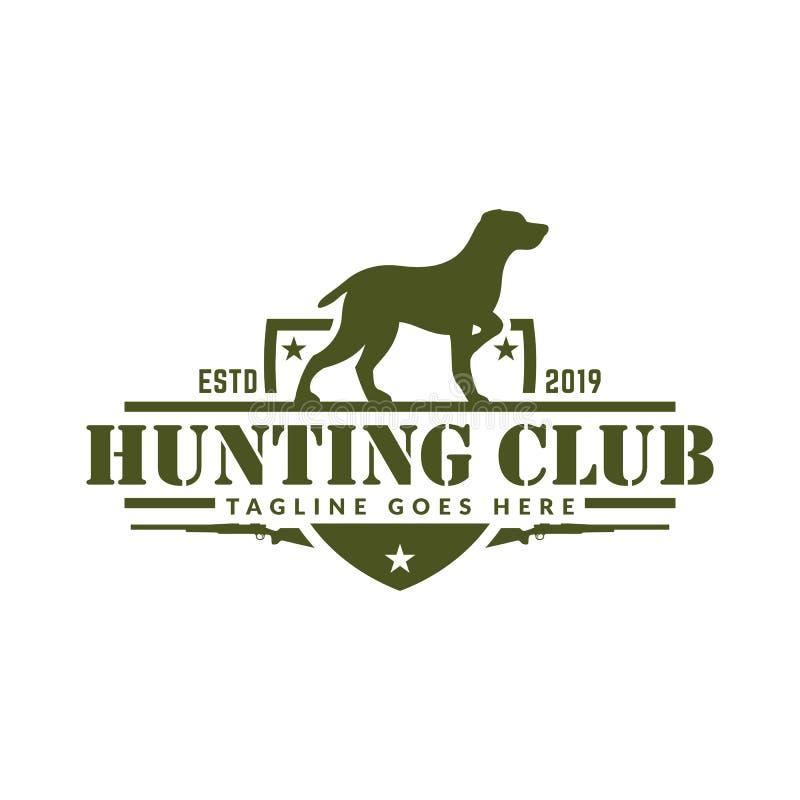 Logotipo da caça dos cervos ou do pato, caçando o crachá ou o emblema para o clube e os esportes de caça ilustração stock