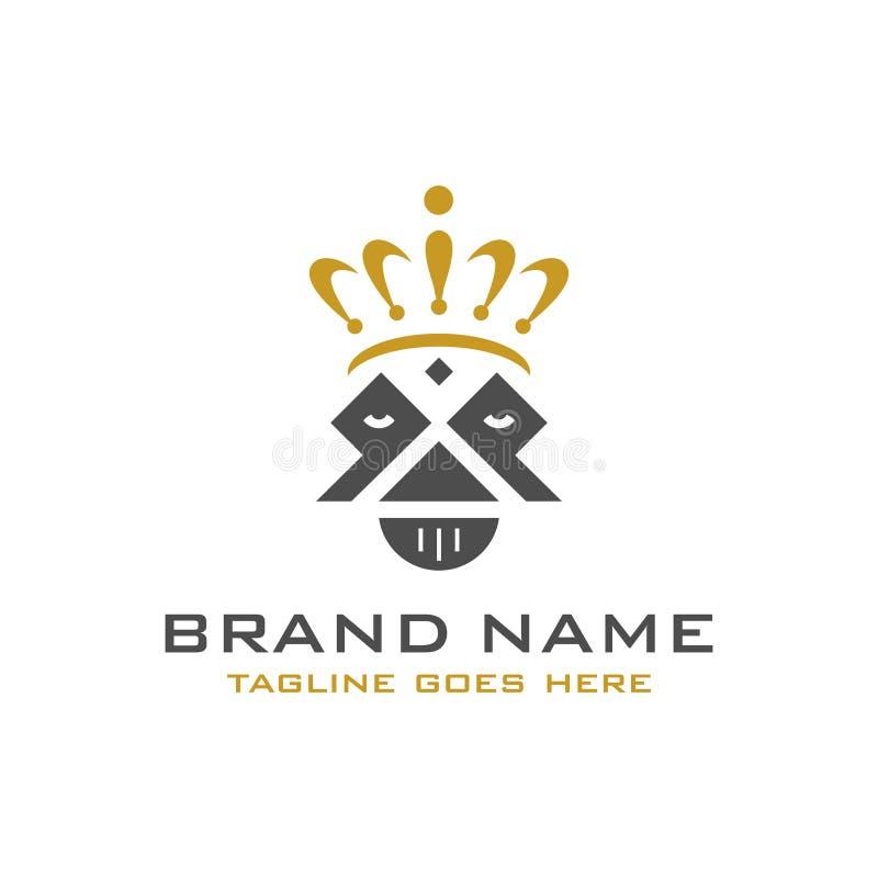 Logotipo da cabeça e da coroa do rei ilustração stock
