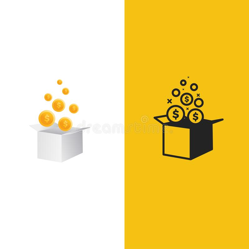 Logotipo da caixa de dinheiro O presente premiado com dólar inventa a ilustração ilustração do vetor