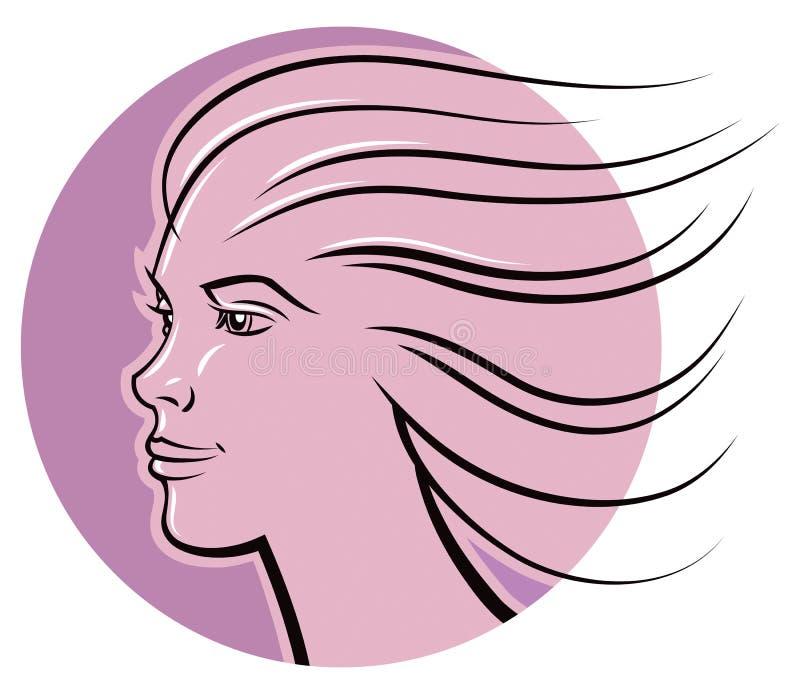 Logotipo da cara da mulher ilustração do vetor