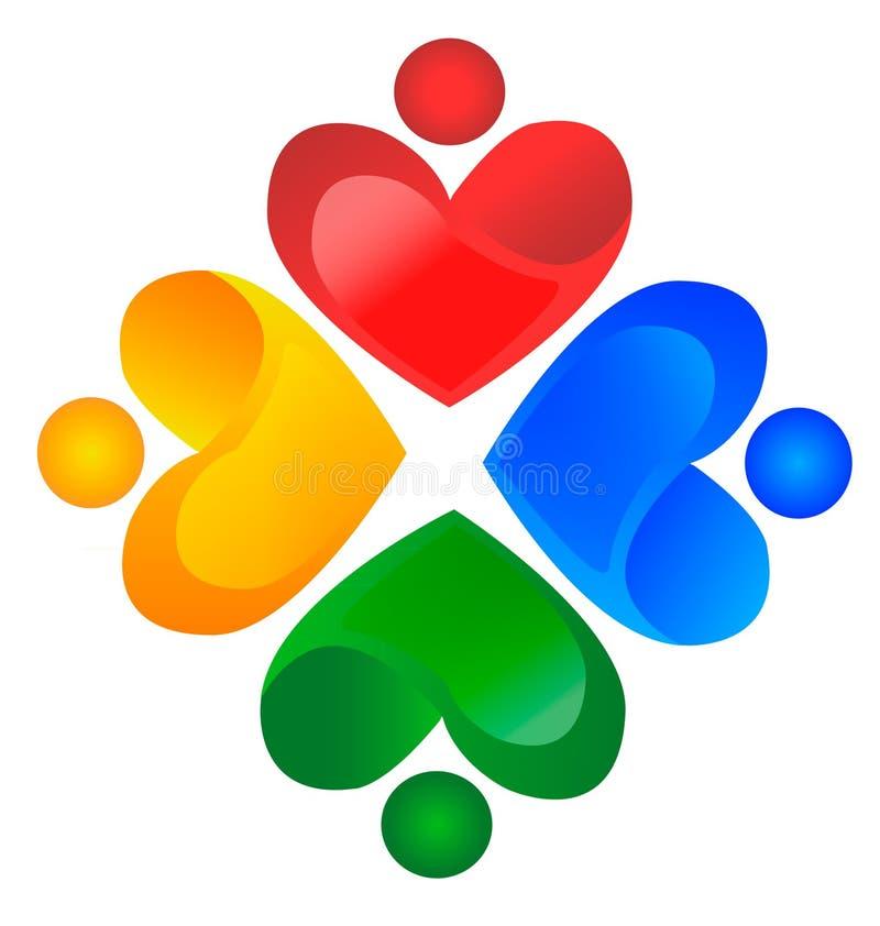 Logotipo da caridade dos trabalhos de equipa ilustração royalty free