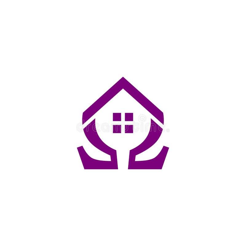 Logotipo da casa da ômega ilustração stock