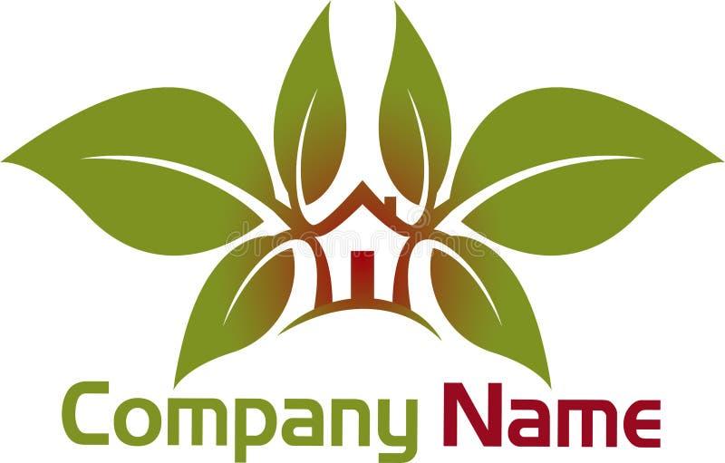 Logotipo da casa da folha ilustração royalty free