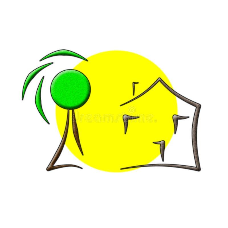 Logotipo da casa de árvore de Sun ilustração do vetor