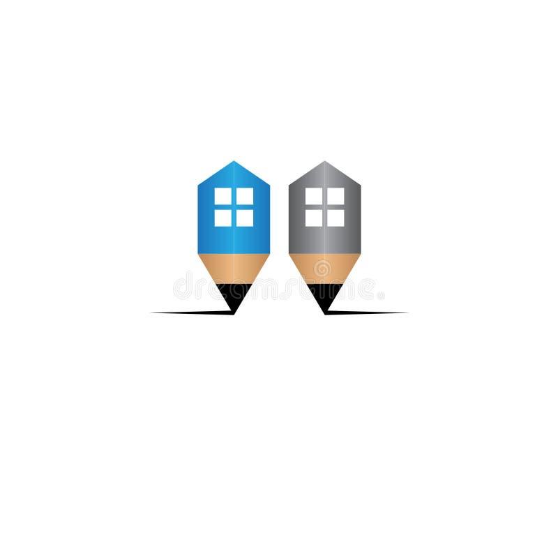 Logotipo da casa do lápis/ilustração de madeira Real Estate ilustração do vetor