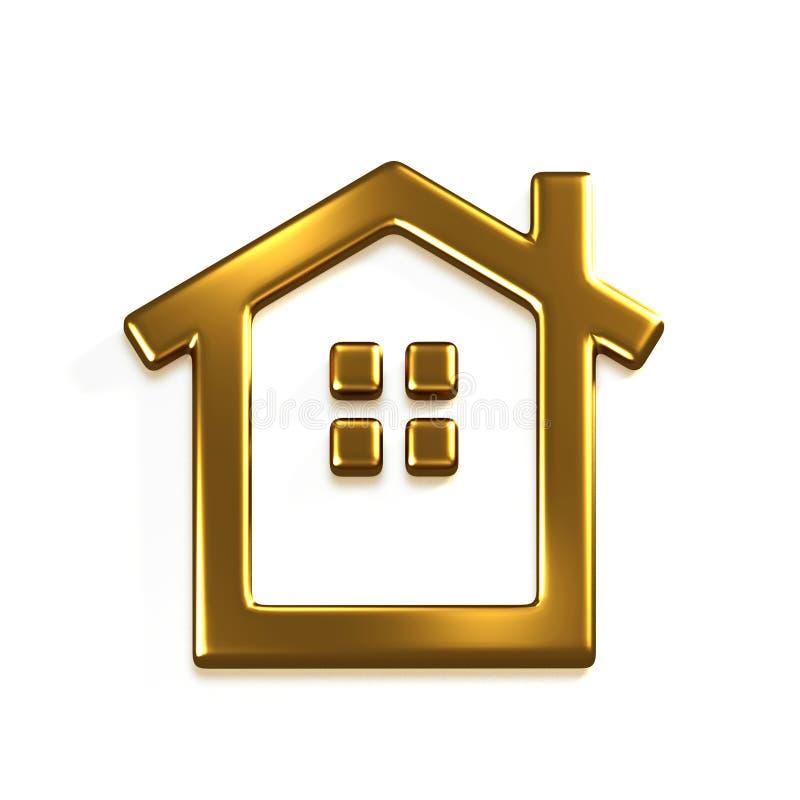 Logotipo da casa do ouro 3D rendem a ilustração gráfica ilustração stock