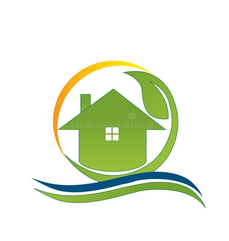 Logotipo da casa verde ilustração stock