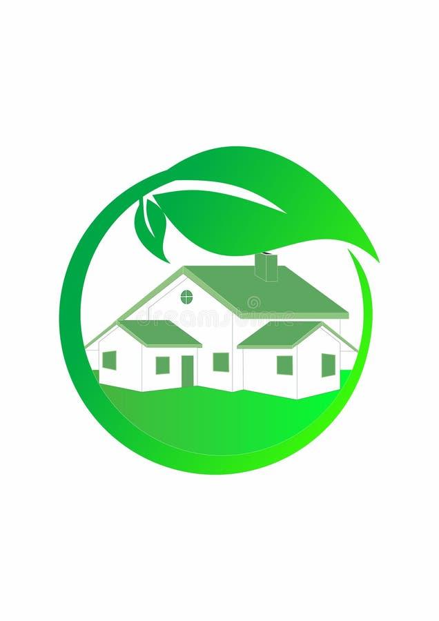 Logotipo da casa verde, logotipo verde da casa do eco com folhas ilustração do vetor