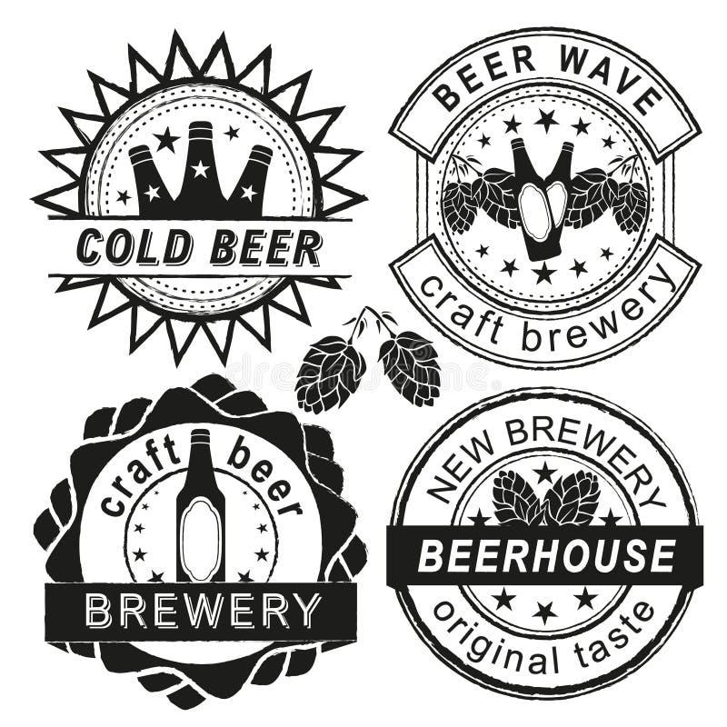 Logotipo da cervejaria do vintage, emblemas e grupo do vetor dos crachás ilustração do vetor