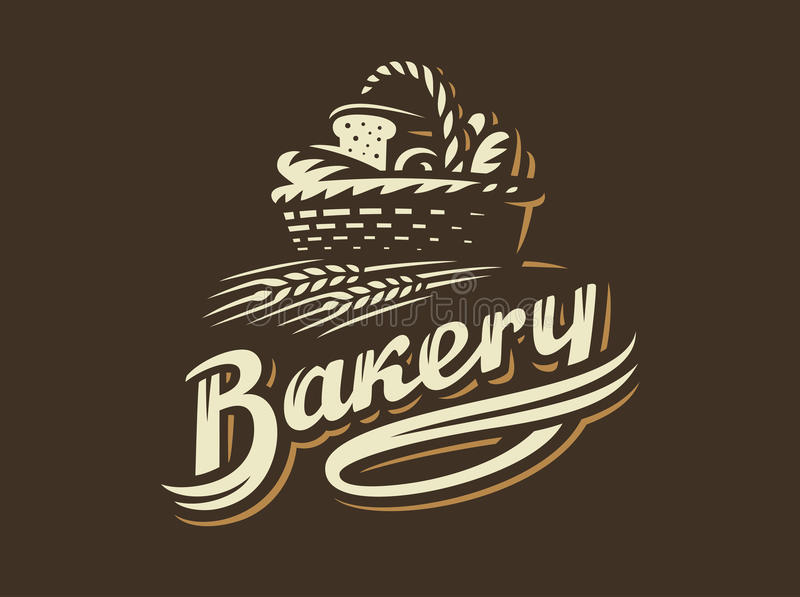 Logotipo da cesta do pão - ilustração do vetor Emblema da padaria no fundo escuro ilustração royalty free