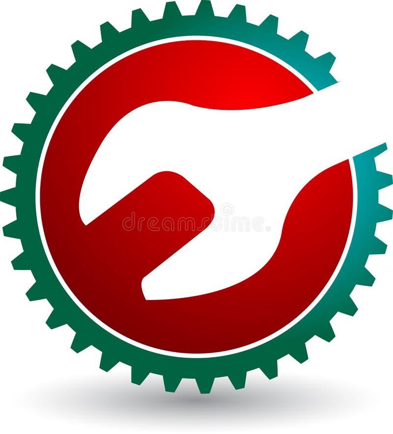 Logotipo da chave da engrenagem ilustração do vetor