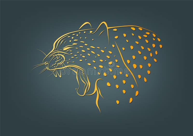 Logotipo da chita, símbolo do leopardo e projeto de conceito desorganizado ilustração do vetor