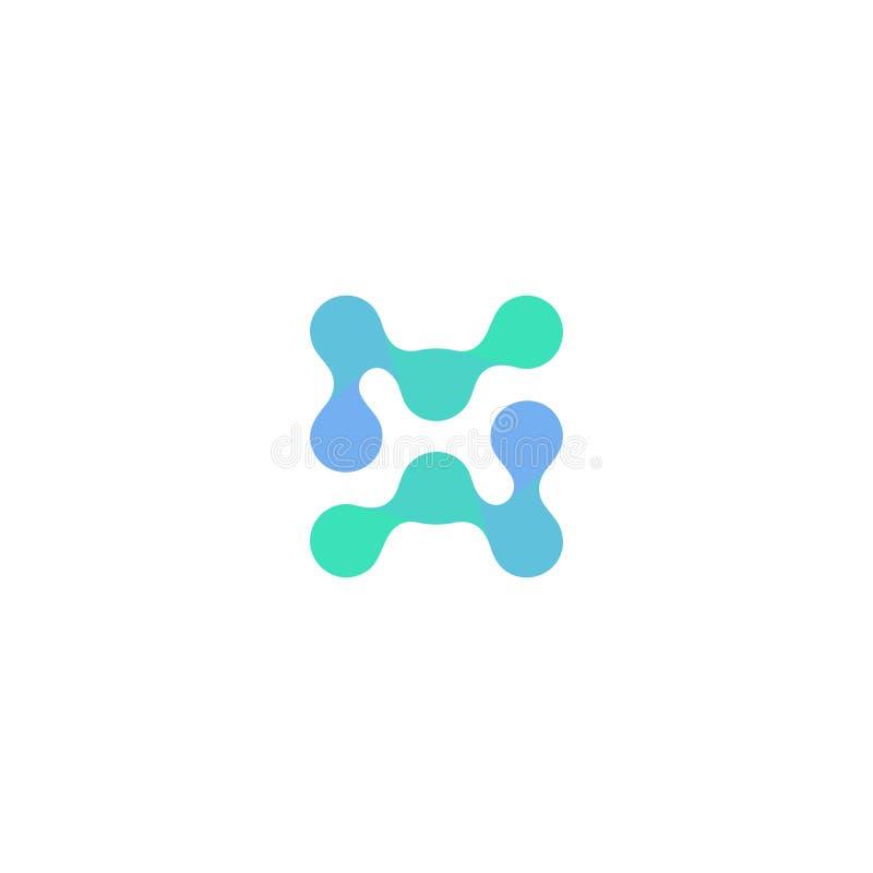 Logotipo da ciência biológica, forma azul abstrata, pontos conectados, ilustração incomum isolada da molécula no fundo branco ilustração do vetor