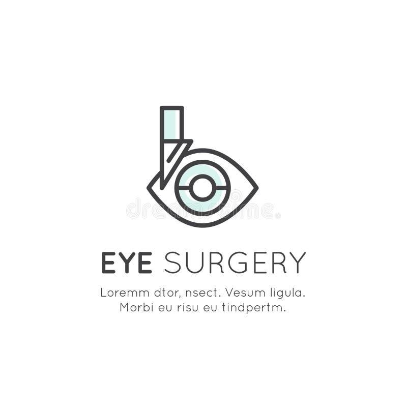 Logotipo da cirurgia do olho, do laboratório do tratamento diagnóstico ou da clínica profissional ilustração royalty free