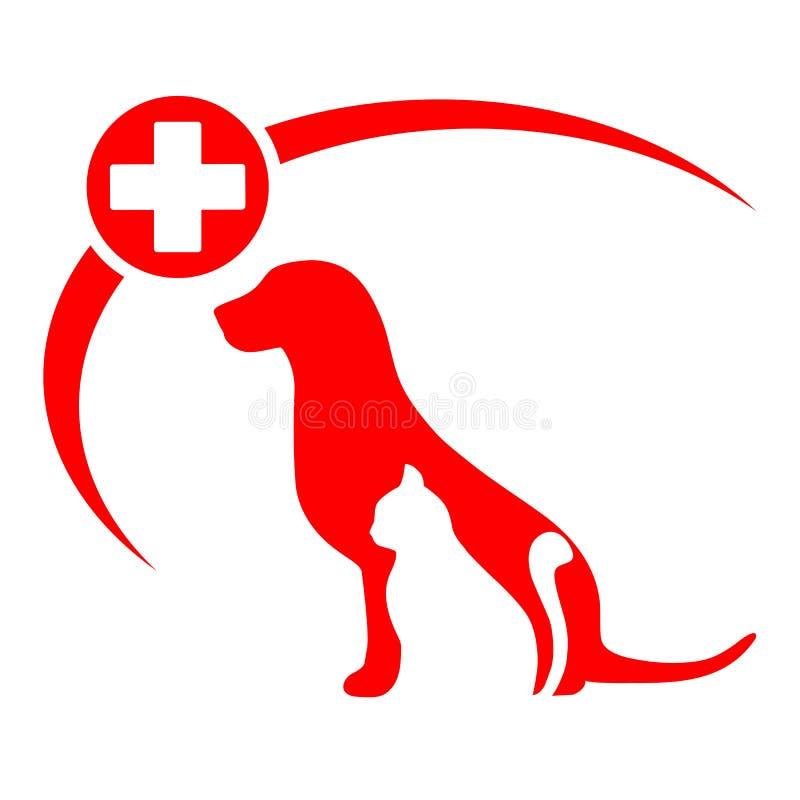 Logotipo da clínica do animal de estimação com cão, gato silhueta do cão e gato do cartaz da loja de animais de estimação ilustração royalty free