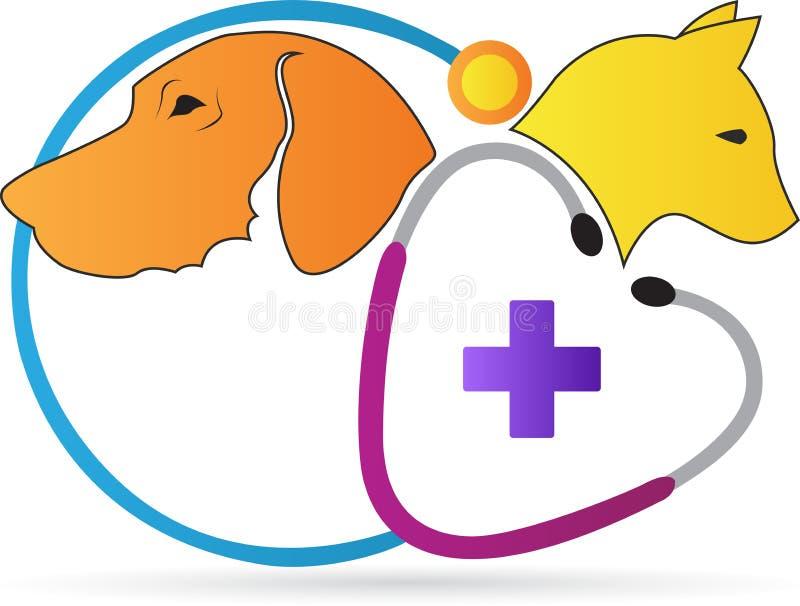 Logotipo da clínica dos cuidados dos animais de estimação ilustração do vetor