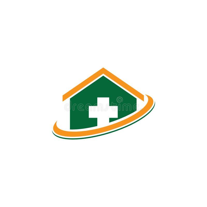 Logotipo da clínica médica do cuidado da casa ilustração do vetor