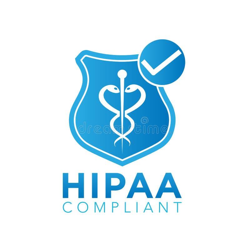 Logotipo da conformidade de HIPAA ilustração stock
