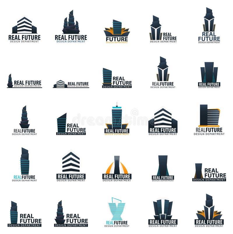 Logotipo da construção Departamento de projeto Edifícios modernos Ícones da empresa ilustração stock