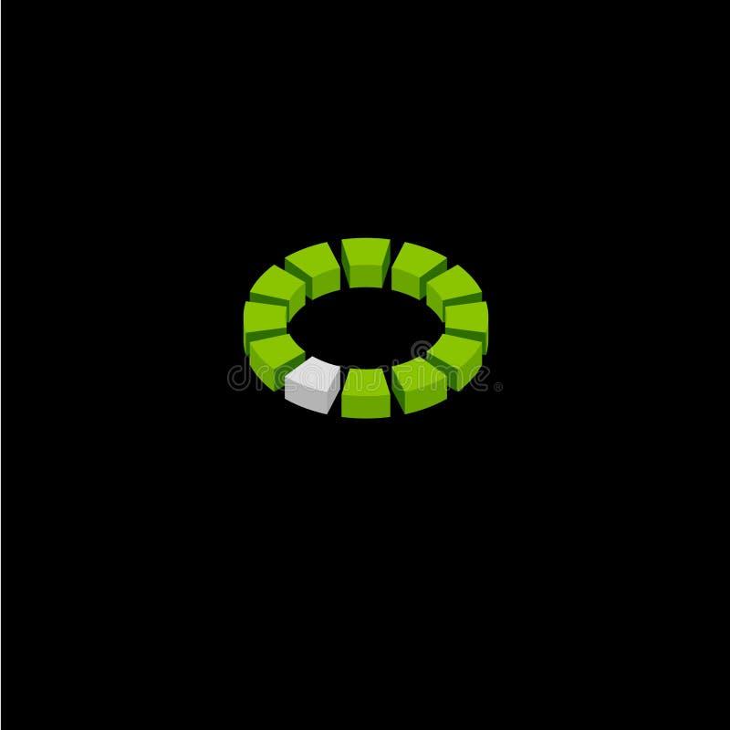 Logotipo da construção do emblema do logotipo 3d da arquitetura Módulos em um círculo ilustração royalty free