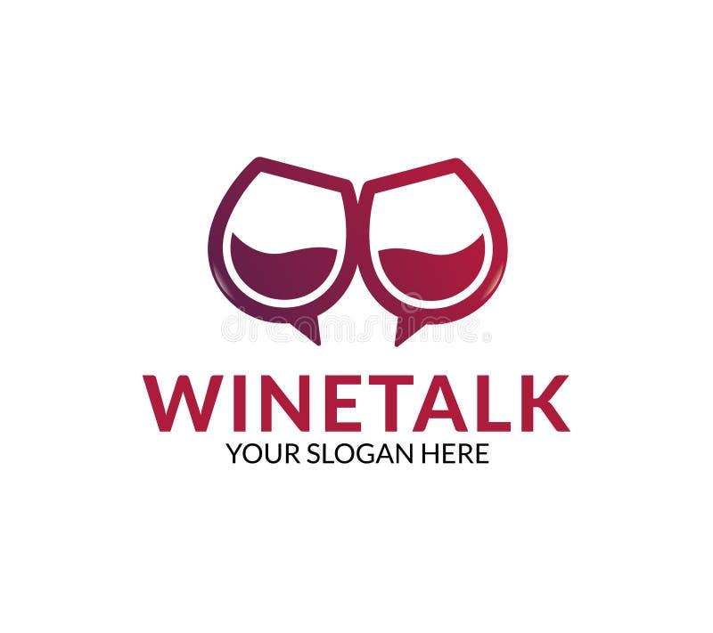 Logotipo da conversa do vinho ilustração royalty free