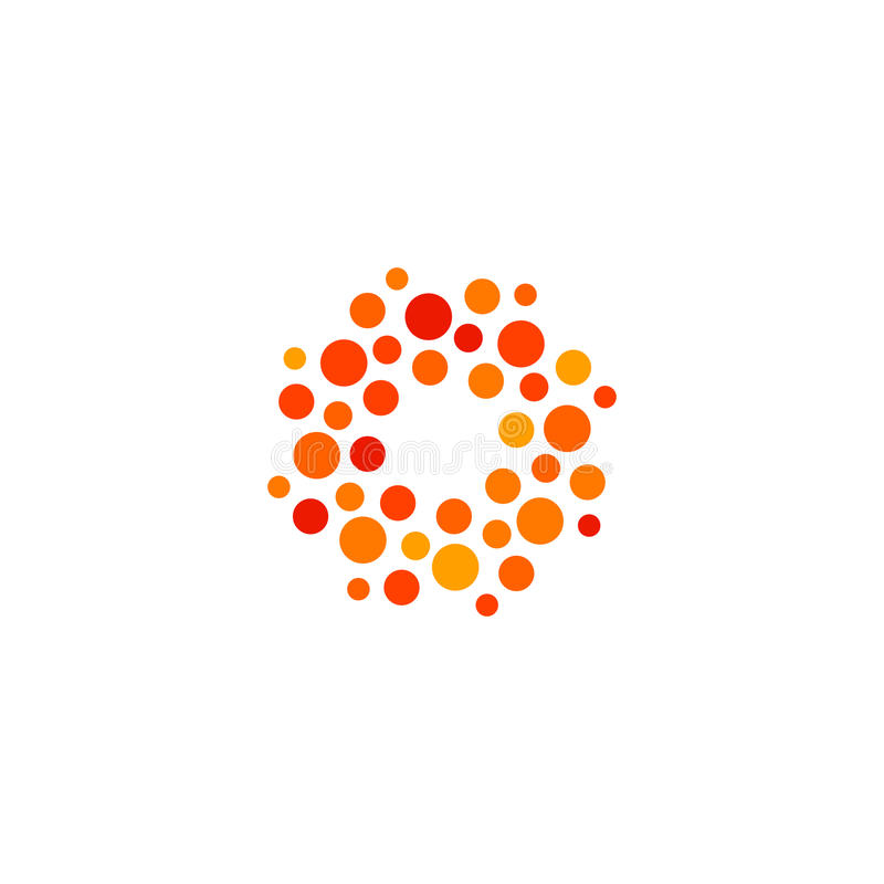 Logotipo da cor alaranjada e vermelha de forma redonda abstrata isolada, logotype estilizado pontilhado do sol no vetor branco do