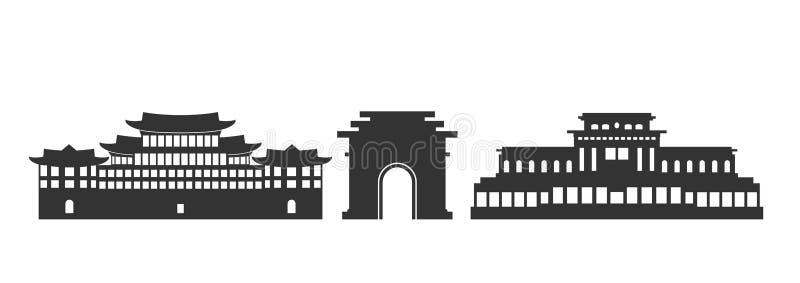 Logotipo da Coreia do Norte Arquitetura norte-coreana isolada no fundo branco ilustração royalty free