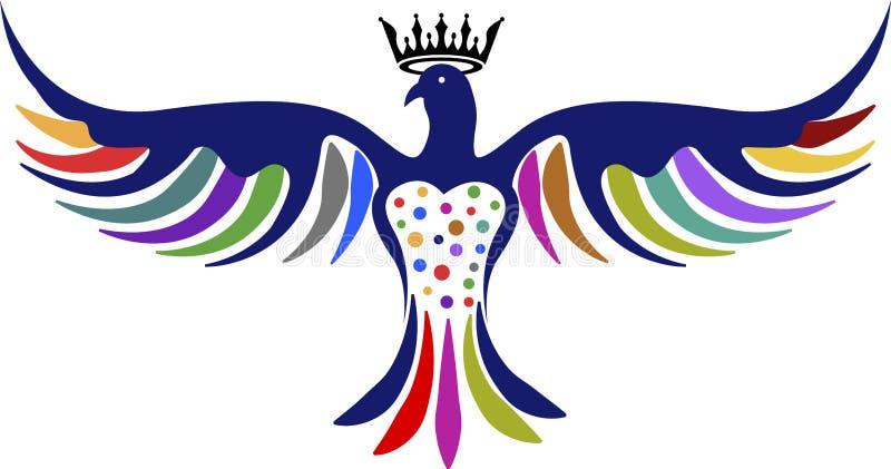 Logotipo da coroa da pomba ilustração royalty free