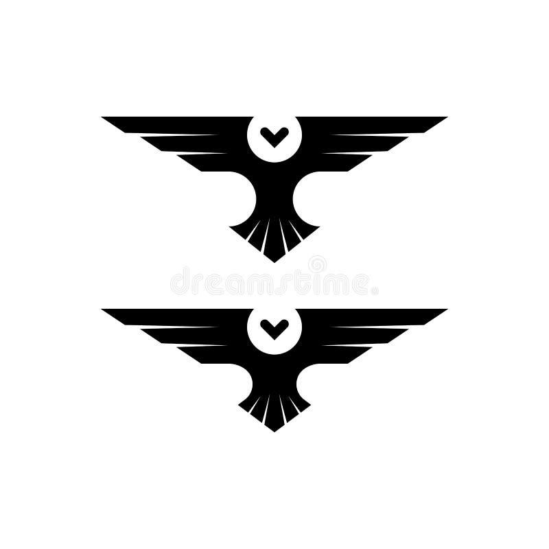 Logotipo da coruja, ave de rapina da silhueta em voo com as asas espalhadas ao estilo do espaço negativo, molde preto e branco si ilustração do vetor