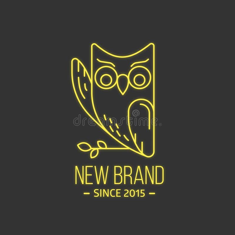 Logotipo da coruja do vintage na linha estilo fina ilustração royalty free