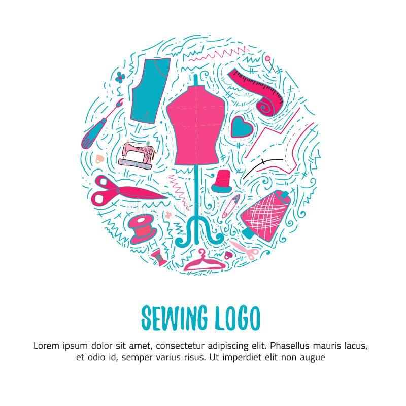 Logotipo da costura para os produtos feitos à mão para costurar, loja do alfaiate com rotulação Ilustração tirada mão do vetor da ilustração stock