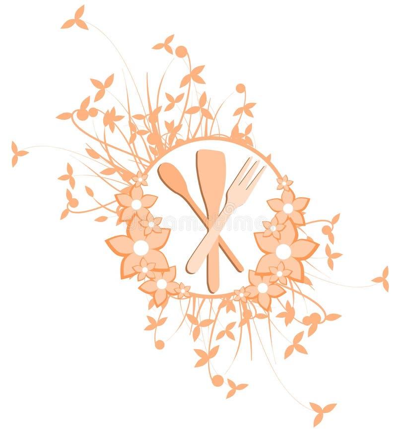 Logotipo da cutelaria com decoração das folhas ilustração royalty free