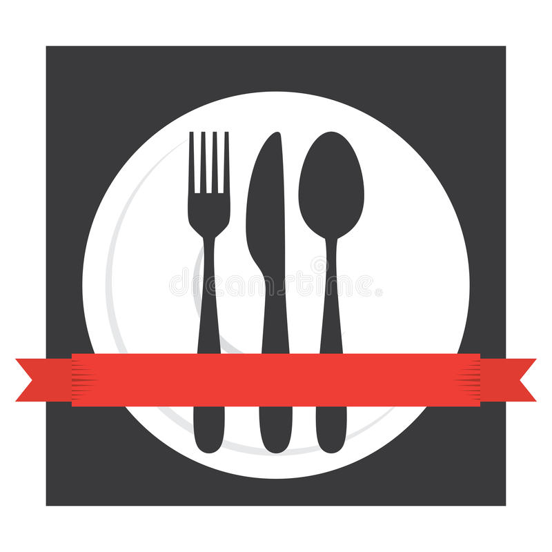 Logotipo da cutelaria do café do alimento ilustração royalty free