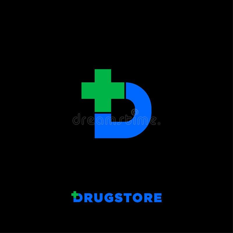 Logotipo da drograria Rotule D com o ícone da cruz da farmácia, isolado em um fundo preto ilustração do vetor