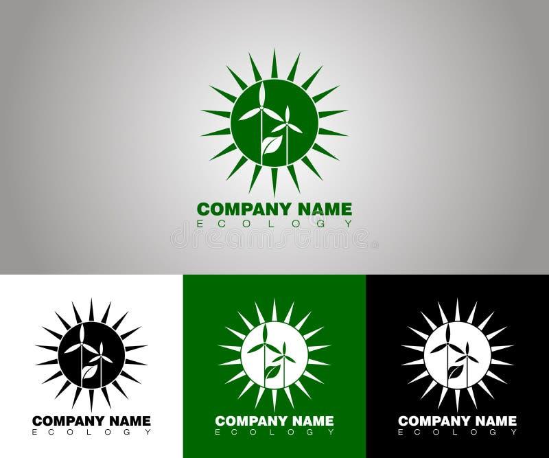Logotipo da ecologia do vetor com opções diferentes do fundo ilustração stock