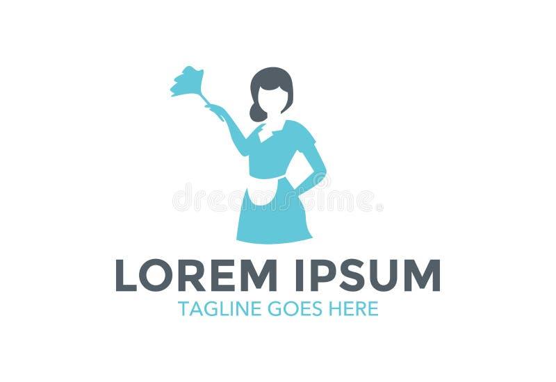 Logotipo da empregada doméstica empresa de serviços da limpeza Ilustração do vetor editable fotos de stock
