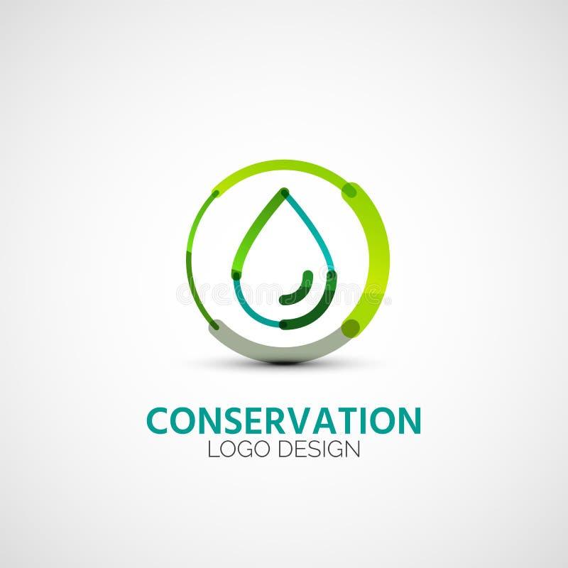 Logotipo da empresa da conservação de água, conceito do negócio ilustração royalty free