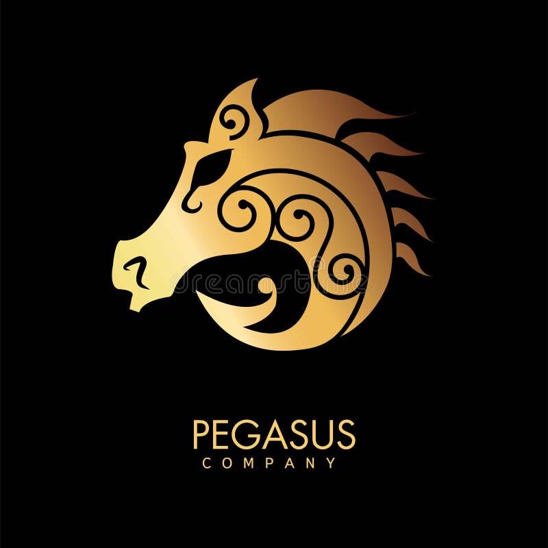 Logotipo da empresa de Pegasus para cavaleiros profissionais com a silhueta animal dourada ilustração stock