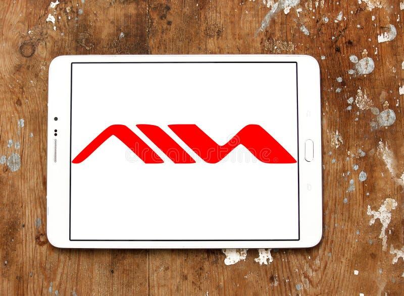 Logotipo da empresa de produtos eletrónicos de consumo de Aiwa foto de stock