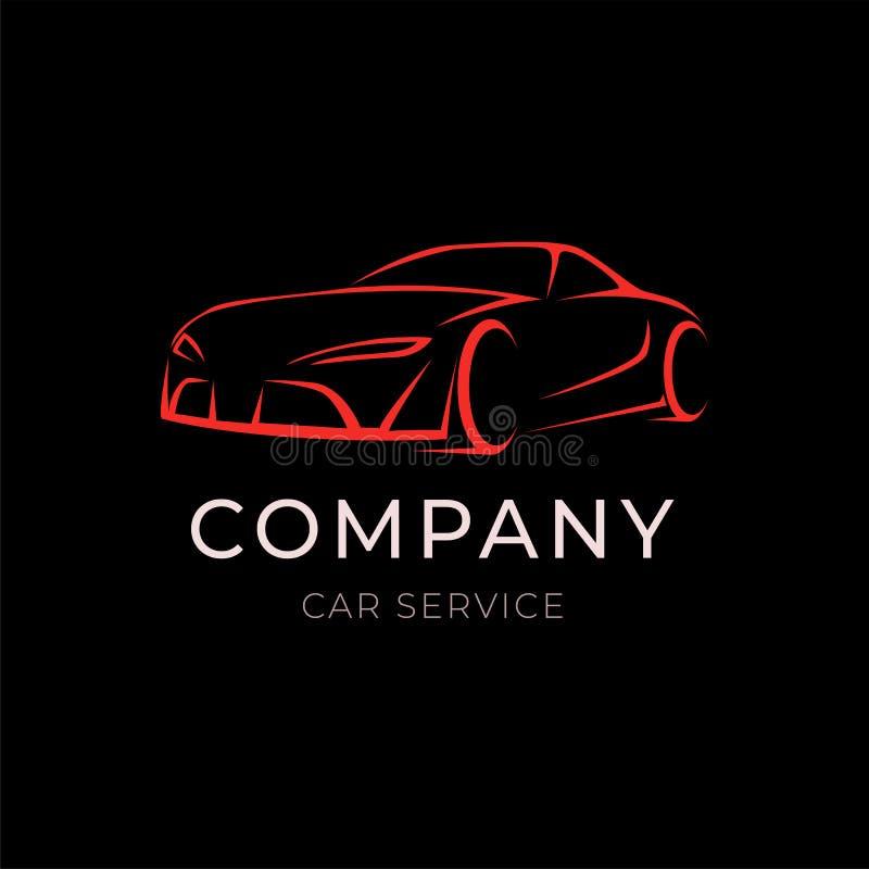 Logotipo da empresa de serviços do carro com a silhueta do veículo do esporte no fundo preto Etiqueta moderna do molde do concess ilustração do vetor
