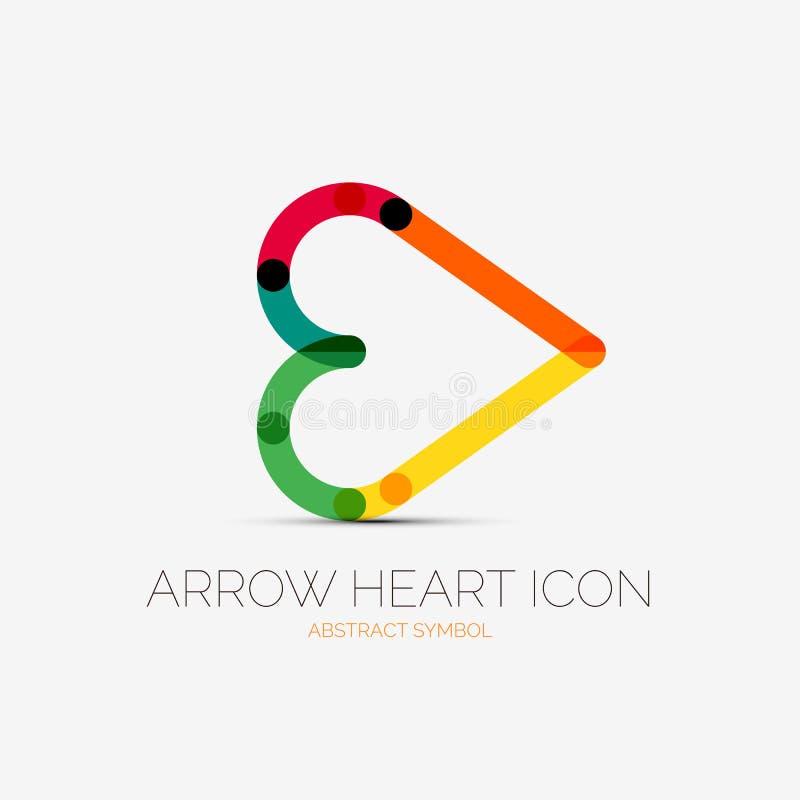 Logotipo da empresa do ícone do coração da seta, conceito do negócio ilustração royalty free