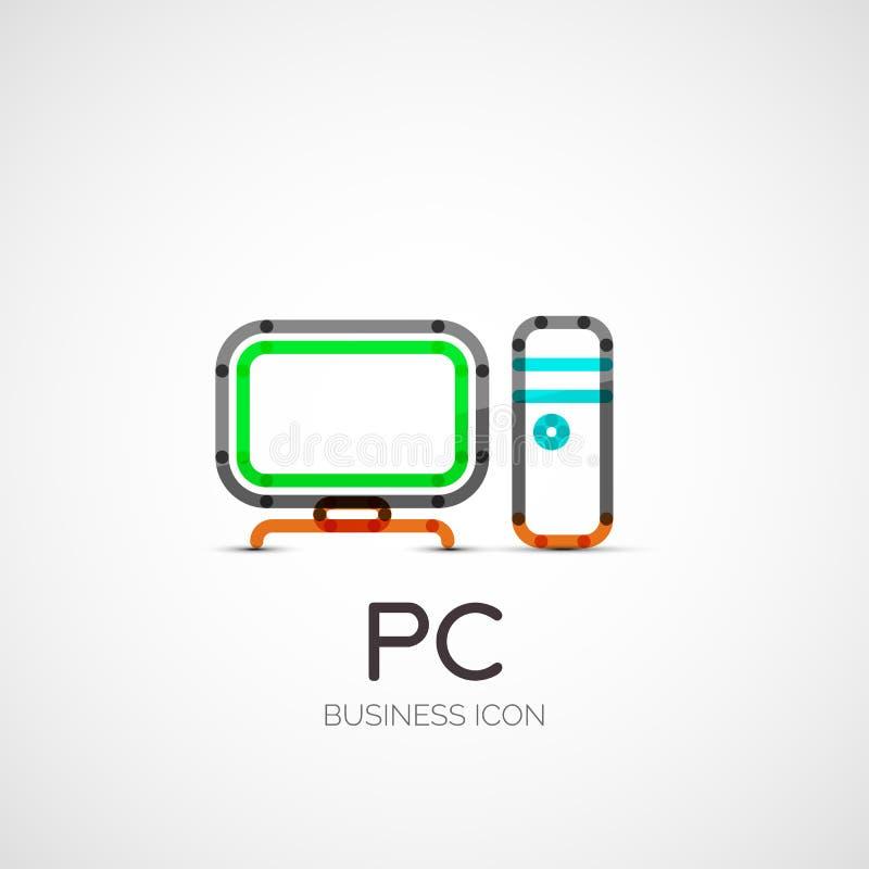Logotipo da empresa do ícone do PC, conceito do negócio ilustração do vetor