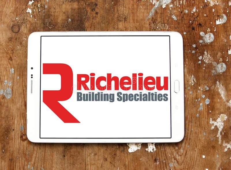 Logotipo da empresa do hardware de Richelieu foto de stock