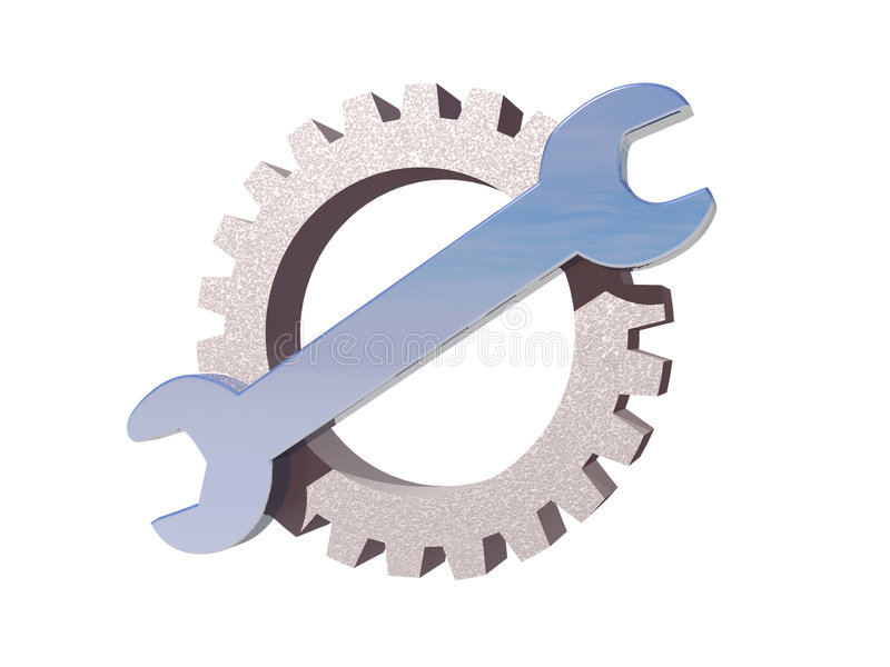 Logotipo da engrenagem da chave ilustração stock