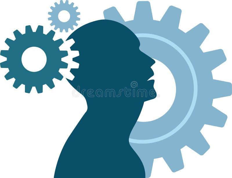 Logotipo da engrenagem da mente ilustração stock