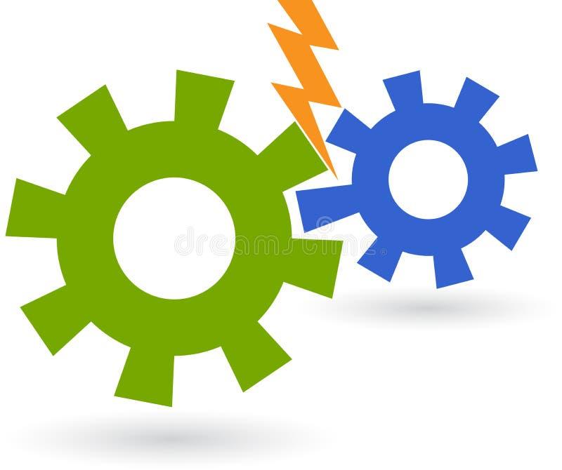 Logotipo da engrenagem da potência ilustração stock
